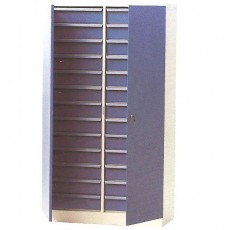 Díl. ocel. skříň na soklu, půlená, 26 zásuvek, DOS 04